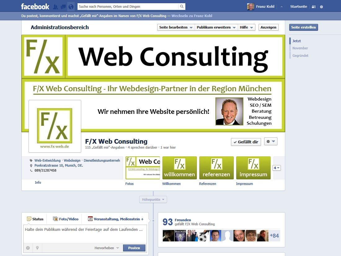 2012: F/X Web Consulting | Webdesign München | Facebook-Fanseite