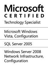 Microsoft Certified Technology Specialist (Windows Vista®, SQL Server® 2005, Windows Server® 2008)