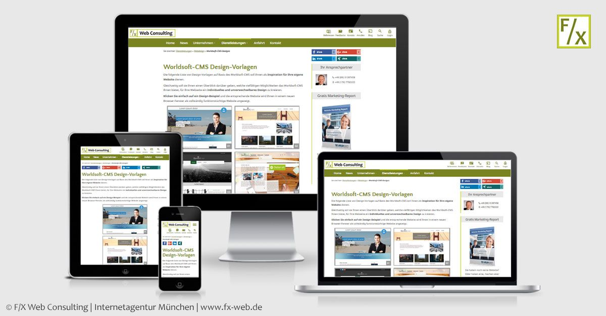 Worldsoft-CMS - Designs | F/X Web Consulting | Internetagentur München
